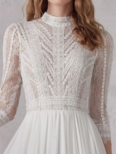 Pronovias long lace sleeves romantic boho wedding dress