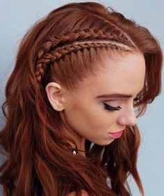 This lovely braided red hair color is new school braids 2019 Hair Color Trends That You Should Copy Right Away Redhead Hairstyles, Box Braids Hairstyles, Wedding Hairstyles, Viking Hairstyles, Hairstyle Ideas, Festival Hairstyles, Daily Hairstyles, Hairstyles Pictures, Hairstyles 2018