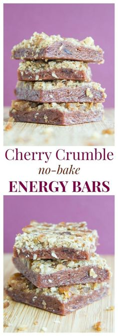 Cherry Crumble No Bake Energy Bars - a healthy snack bar with a sweet cherry layer and a streusel crumb topping. | cupcalesandkalechips.com | gluten free, vegan recipe