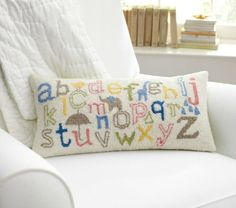 This ABC decorative embroidered pillow is adorable. #nursery #decor