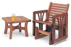 Outdoor Mahogany Glider Chair Garden Patio Glider Chair - traditional - patio furniture and outdoor furniture - Bonanza