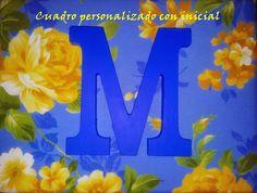 Cuadro personalizado con la inicial del nombre #inicial #diy #hazlotumisma #laboresenlaluna #M #bebé #bautizo #cuadro