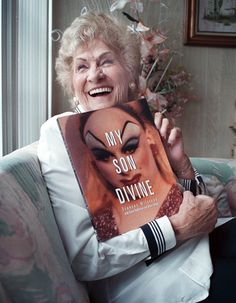 Frances Milstead with her book My Son Divine, 2001
