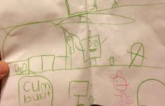This Spongebob fan wanted to draw a chum bucket. Instead... | 18 Children's Notes Made Hilariously Inappropriate By Spelling Errors