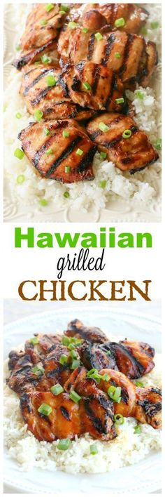 Hawaiian Grilled Chicken - marinated in a coconut milk mixture and served over coconut rice. the-girl-who-ate-. Hawaiian Grilled Chicken, Grilled Chicken Recipes, Marinated Chicken, Hawiian Bbq Chicken, Chicken Marinate, Grilled Food, Chicken Skewers, Recipe Chicken, Coconut Milk Recipes