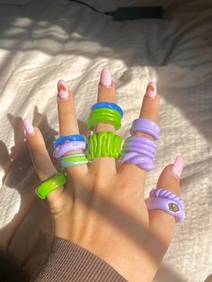 Fimo Ring, Polymer Clay Ring, Cute Rings, Pretty Rings, Funky Jewelry, Cute Jewelry, Diy Clay Rings, Aesthetic Rings, Accesorios Casual