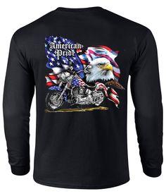 U.S. Custom Tees - American Pride Motorcycle Flag Men's Long Sleeve T-Shirt…