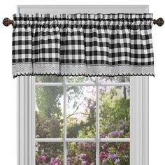 Achim Buffalo Check Burgundy Polyester-Cotton Light Filtering Rod Pocket Curtain Valance at Lowe's. Buffalo Check - the charming allover check pattern comes to life in a stunning window curtain valance. Give your home some extra style by adding the Farmhouse Curtains, Farmhouse Windows, Country Curtains, White Curtains, Drapes Curtains, Farmhouse Decor, Country Farmhouse, Country Valances, Curtain Valances
