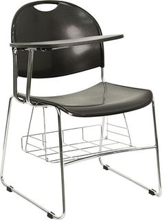 Black High Density Right Facing Flip-Up Tablet Arm Chair