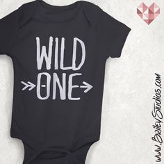 Wild One Baby Onesie, One-Piece Bodysuit, Infant Clothes, Wild & Free, Toddler Tee, Baby Shower Gift, Hipster Kids, Modern, Made To Order