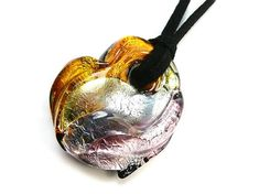 Murano Glass Heart Necklace - Amber and Amethyst Garden Trowel, Black Glass, Murano Glass, Sterling Silver Jewelry, Lilac, Amber, Amethyst, Pendants, Heart