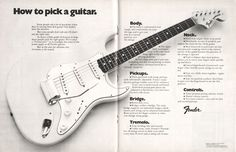 Vintage advert for the Fender Stratocaster electric guitar, originally placed in 1972 Gibson Guitars, Fender Guitars, Music Guitar, Cool Guitar, Art Music, Guitar Tips, Guitar Lessons, Fender American Vintage, Fender Stratocaster
