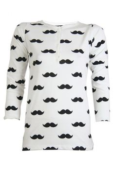 The very popular moustache top is back! The top has a white color and is decorated with a black moustache print on it. Check out the high closed collar with its cute buttons on it, very sweet. The top has a long model and a long sleeved model. Little miss moustache..  www.2dayslook.com