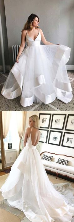 bc3e8205a3 Simple A-line V Neck Straps Ivory Long Wedding Dress with Backless WD275   wedding