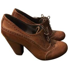 Pre-Owned Moma Brown Leather Lace Ups Moma Shoes, Leather And Lace, Brown Leather, World Of Fashion, Luxury Branding, Oxford Shoes, Lace Up, Shopping, Women