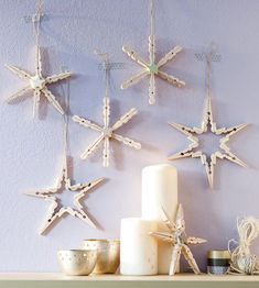 Online guide to parenting from baby to teen - ✂ Basteln im Advent - Crafts Handmade Christmas Decorations, Diy Christmas Ornaments, Xmas Decorations, Kids Christmas, Craft Stick Crafts, Crafts To Do, Holiday Crafts, Crafts For Kids, Clothespin Crafts