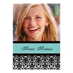 Teal Black Photo 16th Birthday Party Invitations