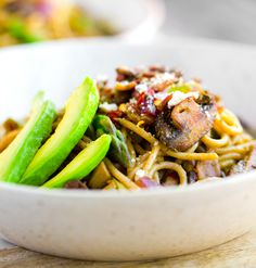 This Spring Pasta is a vegan, one-skillet meal that is loaded with hearty mushrooms and perky green asparagus. Garlic, lemon and a hint of pesto. So much flavor and texture and yes-ness in each bite.
