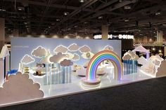 A neon rainbow and two giant blue eyes floating in a sea of clouds welcomed the visitors into Dreamland by Jonathan Adler, at the Interior Design Show 2020 Boutique Interior, Jonathan Adler, Stand Design, Display Design, Dreamland, Interior Design Shows, Exhibition Booth Design, Exhibition Stands, Exhibit Design