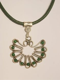 green agate necklace wire wrapped jewelry handmade by BeyhanAkman, $32.00