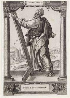 Hieronymus Wierix | H. Judas Taddeüs, Hieronymus Wierix, Jan Ditmaer, Maerten de Vos, 1578 | De heilige Judas Taddeüs staat tussen twee zuilen in een architecturale omlijsting. In zijn hand houdt hij een omgekeerd kruis. Op de achtergrond een gezicht op een rivier en een heuvelachtig landschap. In het kader onderaan een onderschrift in het Latijn.