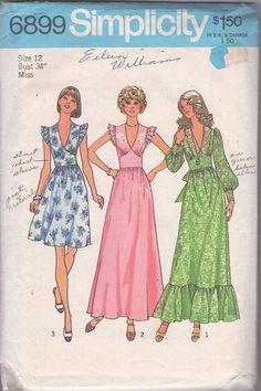 MOMSPatterns Vintage Sewing Patterns - Simplicity 6899 Vintag 70's Sewing Pattern FANTASTIC V Neck Flutter Ruffle Sleeve, Cinched Wide Midriff Tie Back Day Dress, Maxi Party Evening Gown Size 12