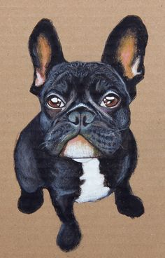 Custom pet portrait  water soluble crayons acrylic by PaperTigress, €90.00