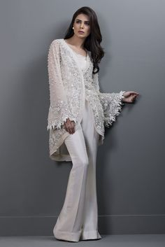 Picture of Net embroidered hand worked jacket Net Dresses Pakistani, Pakistani Dress Design, Pakistani Outfits, Bridal Mehndi Dresses, Funky Dresses, Afghan Dresses, Fancy Gowns, Indian Designer Wear, Dress Patterns
