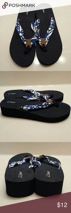 J. Crew Flip Flops Navy blue with blue and white strap flip flops with small wedge heel by J. Crew Factory- Size 8. Brand new with tags, never worn. Super cute! J. Crew Factory Shoes Sandals