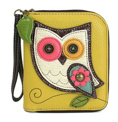 Chala Zip Around Wallet, Wristlet, 8 Credit Card Slots, Sturdy Pu Leather - Owl - Mustard Yellow Front Pocket Wallet, Zip Wallet, Zip Around Wallet, Leather Wallet, Pu Leather, Leather Embroidery, Handbag Stores, Minimalist Wallet, Leather Bags Handmade