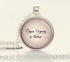 Once Upon a Time - Necklace - Book Lover Necklace - Reader - Writer - Librarian Gift - Fairy Tale - Bibliophile - Bookworm - Gift - (B0983)