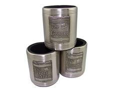 Groom - Bestman - Groomsman - Stainless Steel Stubby Holder
