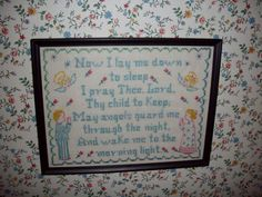 CrossStitched Sampler  Now I Lay Me Down To Sleep by NanNasThings, $12.95