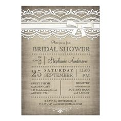 Vintage Lace & Linen Rustic Country Bridal Shower