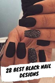 28 best Black Nail Designs For Glowing Beauty - Nail,Nails,Nail Desing. Black Nails With Glitter, Black Acrylic Nails, Best Acrylic Nails, Matte Nails, My Nails, Nail Black, Black Nails Short, Black Coffin Nails, Glitter Art