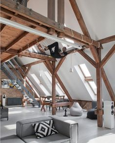 Love the Suspended net!  More ideas at Dsigners.net (Link on Bio)  Apartment in Poznan designed by Cuns Studio / Photo by Hanna Długosz.  Tag an #Architecture Lover! #d_signers