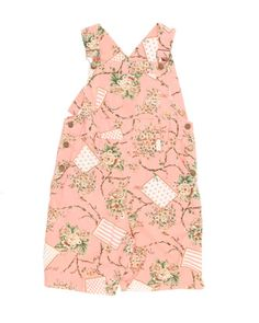 Pink Floral Short Dungarees -  W30