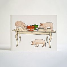 Let's Pig Out Card Set Of 8 now featured on Fab.