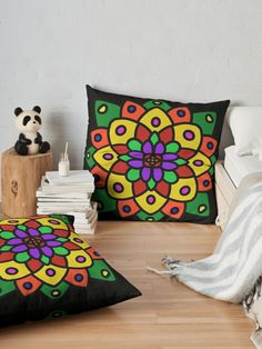 """Flower of Life Mandala"" Floor Pillow by Pultzar 