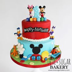 Love+Suga r Bakery's Mickey Mouse Clubhouse Cake. Gateau Theme Mickey, Mickey Mouse Theme Party, Mickey Mouse Birthday Cake, Mickey Mouse Clubhouse Birthday Party, Custom Birthday Cakes, 3rd Birthday Cakes, Minnie Mouse Cake, Birthday Ideas, Bolo Do Mickey Mouse