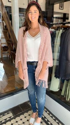 Chenille Fringe Cocoon Cardi Pink | The Rock Box Store