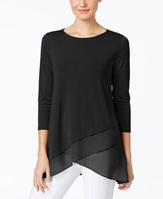 Alfani Chiffon Crossover-Hem Top, Only at Macy's - Tops - Women - Macy's Look Fashion, Fashion Outfits, Site Mode, Macys Tops, Casual Chique, Latest Fashion For Women, Womens Fashion, Moda Casual, Business Attire