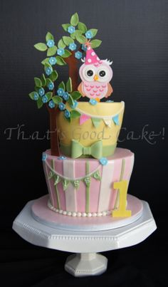 Cute little carved cake with an owl.  Fondant covered cakes with hand cut details.