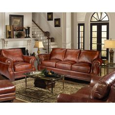 Bristol Top-Grain Vintage Leather Craftsman Living Room Set - Sam's Club Leather Furniture, Leather Sofa, Leather Seats, Upholstered Furniture, Furniture Sets, Rustic Furniture, Living Room Sets, Living Room Decor, Living Room Designs