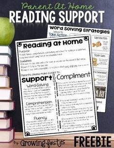 "Help provide support for your parents when your students take home books to read at home. Parents don't always have ""reading-teacher-language"" on the tip of their tongues to compliment and/or support their readers. This document will do just that, providing information on comprehension, fluency & word-solving.For each of my first graders, I print this two-sided on cardstock, laminate and store in each child's Take Home Book Envelope."