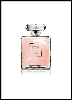 Beautiful poster with Chanel perfume bottle painted in watercolor. Fits perfectly with our other posters and prints with Chanel with lipstick and nail polish or with . Perfume Chanel, Paris Perfume, Pink Perfume, Perfume Bottles, Perfume Fragrance, Prada Marfa, Pink Paris, Poster Chanel, Prada Poster