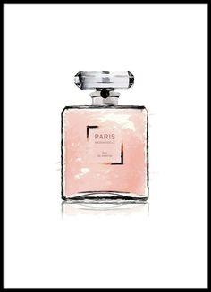 Poster met roze parfumfles op witte achtergrond