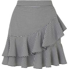 Miss Selfridge Black Gingham Ruffle Mini Skirt ($55) ❤ liked on Polyvore featuring skirts, mini skirts, black, short ruffle skirt, gingham skirt, short mini skirts, miss selfridge skirts and ruffle mini skirt