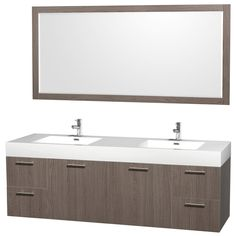 Wyndham Collection Amare Gray Oak Integral Double Sink Bathroom Vanity with Solid Surface Top (Common: 72-in x 22-in; Actual: 72-in x 21.75-in)