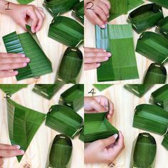 a cup from banana leave Banana Leaf Plates, Deco Buffet, Vegetable Packaging, Food Carving, Leaf Crafts, Food Packaging Design, Asian Desserts, Food Decoration, Indonesian Food